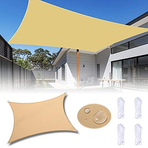Sonnensegel, Sonnensegel Wasserdicht, Sonnensegel Rechteckig 1.8×2m, Polyester Sonnenschutz Balkon, Atmungsaktiv, Windschutz, für Draußen Garten Terrasse Berdach Camping Schwimmbad