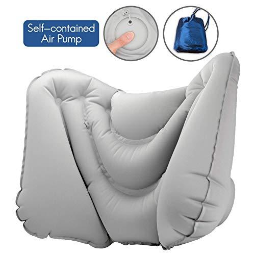 SuperiorParts Ergonomisch Rückenkissen Lendenkissen Aufblasbar für Langstreckenflügen Auto und Bürostuhl, Portable aufblasbar Kissen mit Pump