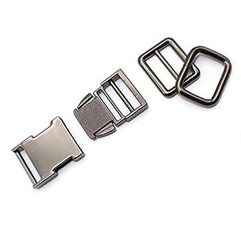 Artisan-SH Fermeture à Clic en Métal Kit, 53 x 30 mm Fermeture Clip Sac Dos avec 2 Ajusteurs, Boucle en Métal Peut être Utilisé pour Sac à Dos/Parachute/Collier/Sangle (Noir)