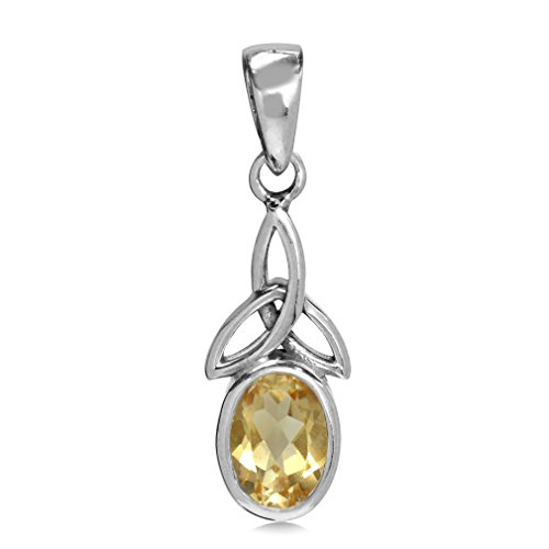 Silvershake Natural Citrine White Gold Plated 925 Sterling Silver Triquetra Celtic Knot Pendant