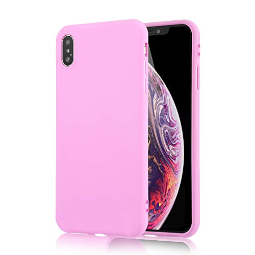 technext020 for iPhone Xs Pink Case, Shockproof Ultra Slim Fit Silicone iPhone 10 Cover TPU Soft Gel Rubber Cover Shock Resistance Protective Back Bumper for iPhone X Pink