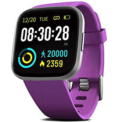 """FITVII Smart Watch, Fitness Tracker with Heart Rate Monitor, IP68 Waterproof Smartwatch with Blood Pressure Sleep Tracking, Step Calorie Counter, Activity Tracker with 1.3"""" Touch Screen for Women Men"""