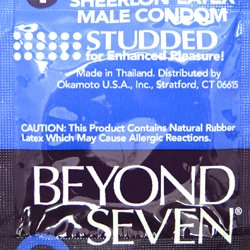 Okamoto Beyond Seven Studded Lubricated Ultra Thin Sheerlon Latex Condoms for Enhanced Pleasure - Pack of 504