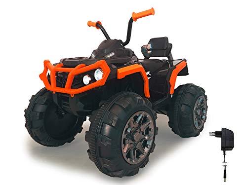 Jamara 460449 Ride-on Quad Protector krachtige aandrijfmotoren en 12 V accu voor lange rijtijd, 2 snelheden, turboschakelaar, ultra grip rubberen ringen op aandrijvingswielen, FM-radio, oranje