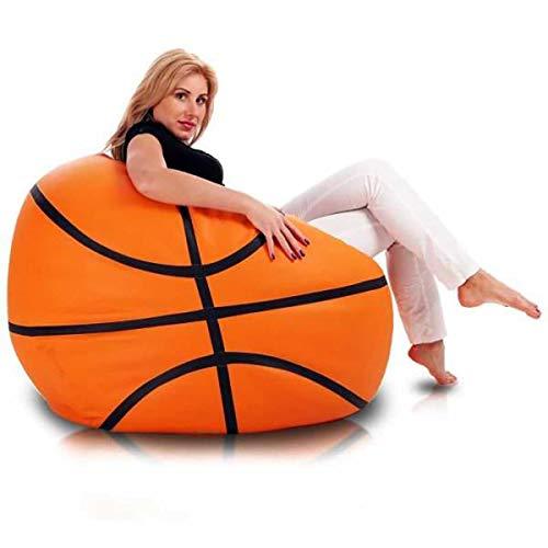 Ecopuf Basketball - Pouf Poltrona Sacco Pallone Palla da Pallacanestro Puff Basket in Ecopelle Dim. 55 X 100 Doppie Cuciture Rinforzate PUF Imbottito con Perle di POLISTIROLO
