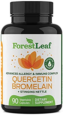 Quercetin 500mg with Bromelain, Vitamin C and Stinging Nettle – Advanced Sinus and Allergy Supplement – Natural Vegetable Capsules – Non GMO, Dairy, Gluten, Egg and Nut Free - by ForestLeaf