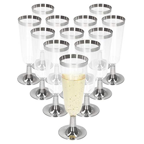 MamboCat 12er Plastik Champagner-/Sektglas Silber-Transparent I 150 ml I Einweg I Für den stilvollen Einsatz I Silvester, Ausflüge, Feiern, Reisen und Co.