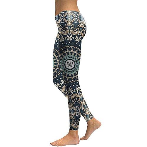 MAYUAN520 Leggings Frauen Mandala Blume 3D Gedruckt Fitness Leggins Hose elastische Hose, M