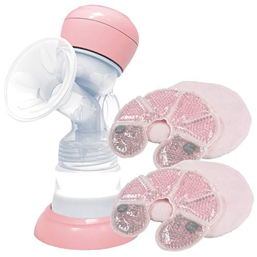 アンジュスマイル 搾乳機 電動 手動切替可 ハンディ 哺乳瓶付き さく乳器+母乳パッド
