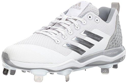 adidas PowerAlley 5 Weiá - Zapatillas de fútbol para Hombre, Color Blanco, Plateado metálico y Gris Claro, Color, Talla 46.5 EU