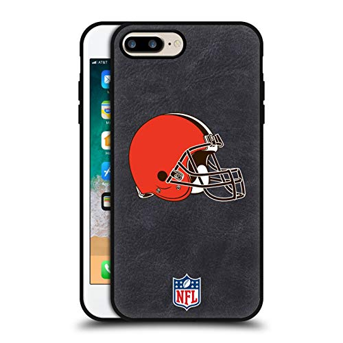 Head Case Designs Ufficiale NFL Cleveland Browns Logo Cover in Pelle Parte Posteriore Nera Compatibile con Apple iPhone 7 Plus/iPhone 8 Plus