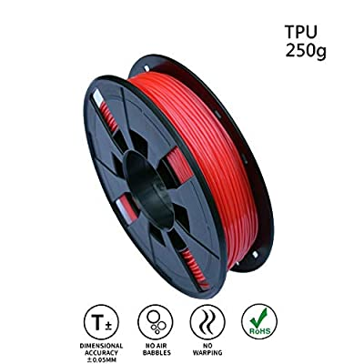 LEE FUNG 1.75mm TPU 3D Printing Filament, Dimensional Accuracy +/- 0.05mm, 0.55 LBS (0.25KG) Spool,1.75 mm 3D Filament for Most 3D Printer & 3D Printing Pen (Red)