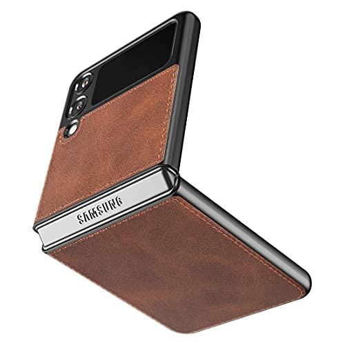 Cresee kompatibel mit Samsung Galaxy Z Flip 3 5G Hülle, PU-Leder Handyhülle Hülle Schutzhülle Cover für Galaxy Z Flip3 2021, Braun