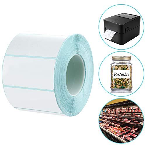 Maojuee Etiquetas Térmicas Rollo de 1000 Hojas Etiquetas Adhesivas Pegatinas 6 x 3 cm Etiquetas Multiuso de Nombre para Direcciones Congelador Carpeta - Etiqueta Rectangular Blanca de Identificación