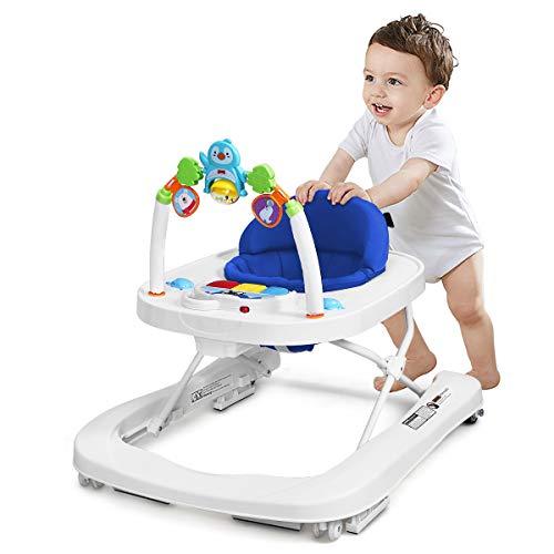GOPLUS 2-in-1 Baby Lauflernhilfe, Baby Walker mit Spielbrett, Lauflernwagen 3-Stufig Höhenverstellbar, Laufwagen Klappbar zum Leichten Verstauen, Kippsicher, für Babys ab 6 bis 18 Monaten (Blau)