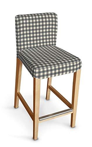 Dekoria Henriksdal Husse für Barhocker Husse Stuhlbezug,Stuhlkissen passend für IKEA Modell Henriksdal grau-Ecru