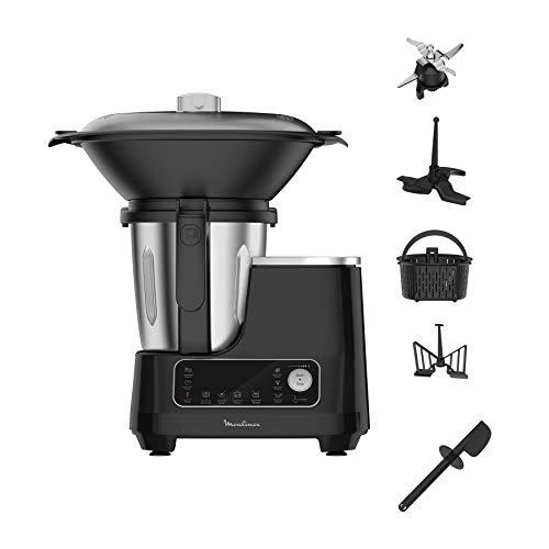 Moulinex HF4568 Click Chef Küchenmaschine mit Kochfunktion (1400 Watt, 12 Geschwindigkeitsstufen, Gesamtvolumen: 3,6 Liter, 28 Funktionen, inkl. Zubehör und Rezeptheft) Schwarz