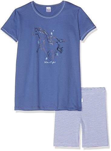 Schiesser Mädchen Pferdewelt Md Anzug kurz Zweiteiliger Schlafanzug, Blau (Blau 800), (Herstellergröße: 116)