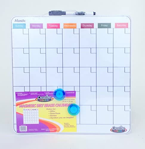 Magnetic Dry Erase Calendar Tile 11 3 8 X 11 3 8 Inches 1 Month Design Frameless product image