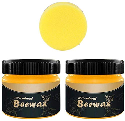 2PCS Wood Seasoning Beewax - Traditional Beeswax Polish for Wood & Furniture, All-Purpose Beewax for Wood Cleaner and Polish Wipes - Non Toxic for Furniture to Beautify & Protect, No Build-Up 1 sponge