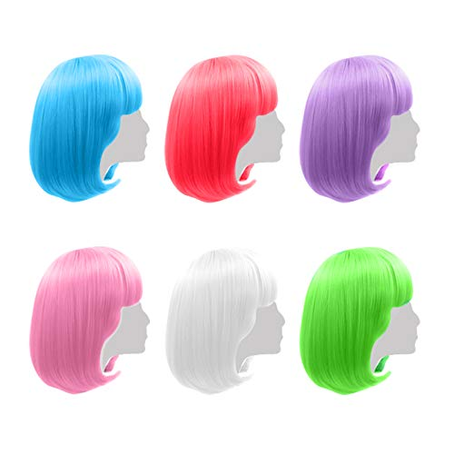 Colored Wigs 6 Pack, Short Bob Hair Wigs Neon Colorful Party Wigs for Women Girls Cosplay Costume Party Holiday Bachelorette Night Club