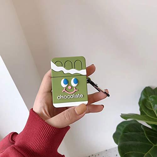 SevenPanda Schokolade Grün Hülle für Apple Airpods Lade, Cute Silikon 3D Cartoon Airpod Cover, weiche Schutz Zubehör Kits Haut mit Karabinerhaken, Character Cases für Kids Teens Girls Guys