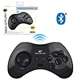 Retro-Bit Official Sega Saturn Bluetooth Controller 8-Button Arcade Pad for Nintendo Switch, Android, PC, Mac, Steam - Black
