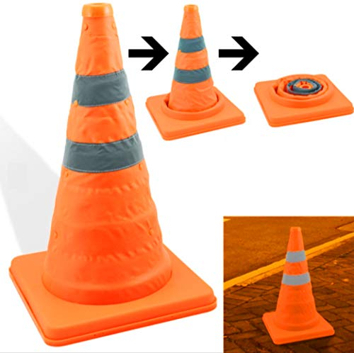 tiktecklab 4 Pack 17.5 inch Collapsible Traffic Cones Multi Purpose Pop up Reflective Safety Cone (4), Orange