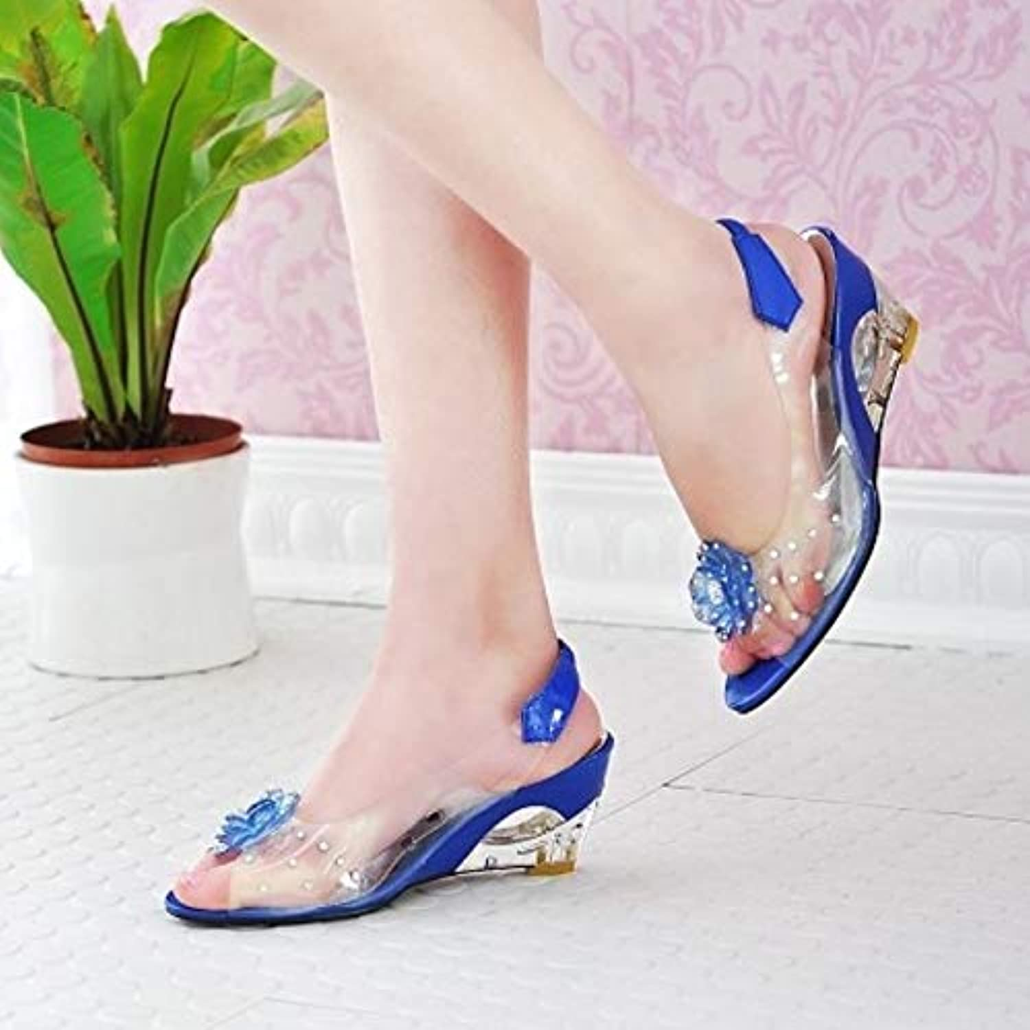 Size 33-43 New Summer Sandals Women Peep Open Toe Wedge Sandals with Flowers Sweet Jelly shoes Woman shoes for Lady,bluee,US12