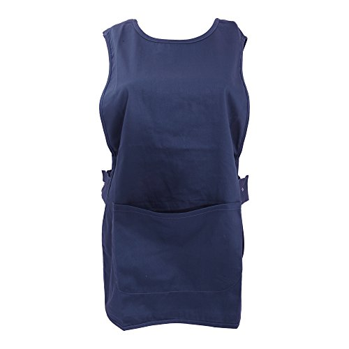 Warrior - Bata de trabajo sin mangas con bolsillo (Grande (L)) (Azul marino)