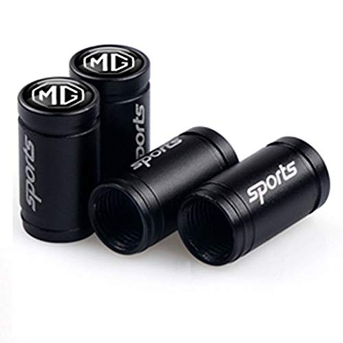 OUIPP Tapones Valvula Coche 4pcs Coche Deportivo Rueda vástago Cubiertas de válvulas de neumático Tapas Accesorios Neumático Tapones (Color : For MG Black)