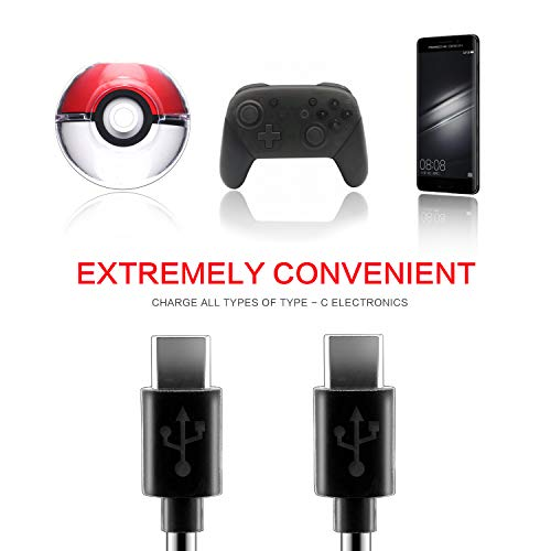 USB Type C Cable for PS5 Xbox Series X Controller, 2 in 1 USB C Charger Cable for Switch Pro Controller, Poke Ball Plus Controller and Android Devices - 1 Pack