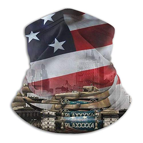 Multifunktionstuch Halswärmer Gamaschen Sturmhauben Stirnband elastische wehende amerikanische Flagge Adler und Panzer kaltes Wetter kalt beständig für Ski Bandana