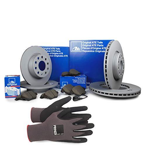 Inspektionspaket ATE Bremsen Set inkl. Bremsscheiben und Bremsbeläge für vorne Ø 314 mm und hinten Ø 300 mm enthalten, 100% passend für Ihr Fahrzeug, inkl. Priner Montagehandschuhe, AN202