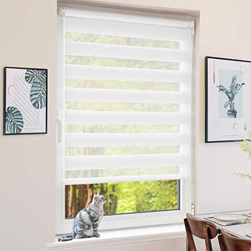 BondFree Doppelrollo Klemmfix ohne Bohren, Duo Rollos für Fenster und Tür, 45x100cm (Stoffbreite 41cm) Weiß, Fensterrollo Seitenzugrollo Sichtschutz & Sonnenschutz