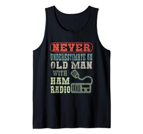 Hombre Hombre Viejo Con Un Jamón Radio Divertido Operador Gráfico Camiseta sin Mangas