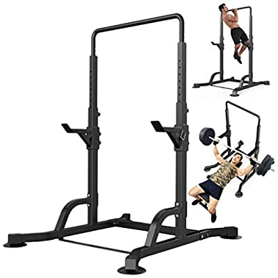 Tengma Adjustable Height Power Squat Rack Cage Stand, Horizontal Bar Pull-up Weight Strength Lifting Weightlifting Rack W/Pull up Bar Exercise Stand Squat Rack Bench Curl Weight Stand Home Gym