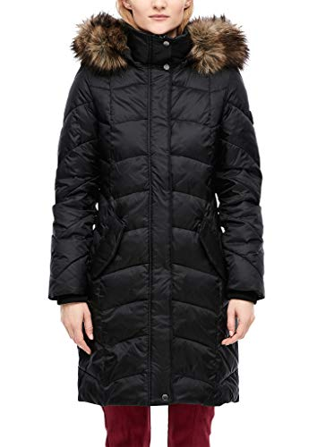 s.Oliver Damen Glänzender Steppmantel mit Fake Fur Black 46