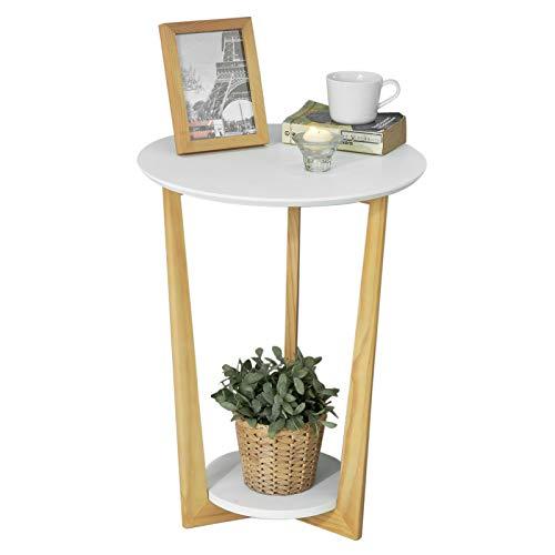 SoBuy FBT52-WN Beistelltisch mit 2 Ablagen Couchtisch Kaffeetisch Balkontisch weiß-Natur, BHT ca: 45x60x45cm