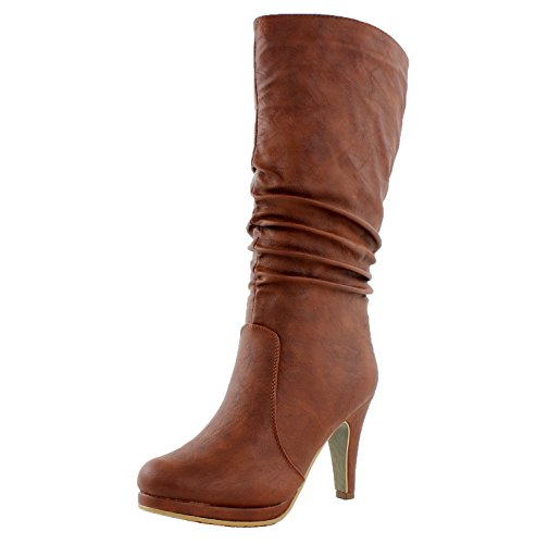 TOP Moda Womens Page-43 Mid Calf Round Toe Slouched High Heel Boots, Tan 10