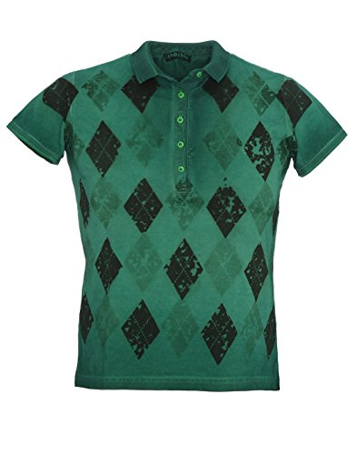 Shockly Damen Poloshirt handbemalt aus Baumwoll-Piqué W-44X5409-green Gr.L