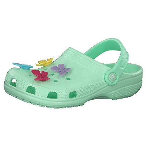 crocs Mädchen Schuhe Preschool Classic Butterfly Charm Clog 206179 Neo Mint 38-39