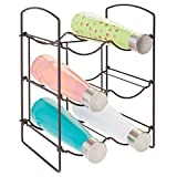 mDesign Metal Free-Standing Water Sports Bottle and Wine Rack Holder Stand for Storage Organizing in Kitchen Cabinet Countertops, Pantry - Collapsible - 3 Tiers, Holds 6 Bottles - Bronze