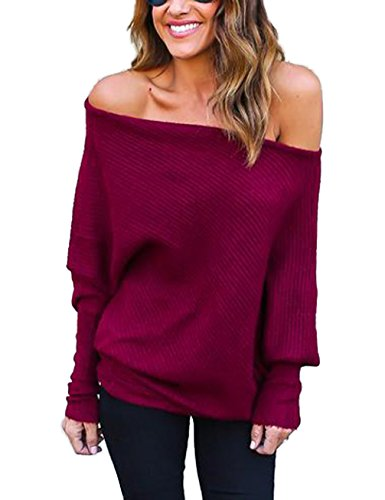 Damen Loose Fledermausärmel Sweatshirt Sexy Off Shoulder Pullover Casual Strick Oberteile Langarm T-Shirt Tops Frauen, Rotwein, L