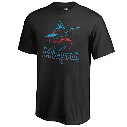Outerstuff MLB Youth 8-20 Team Color Cool Base Polyester Performance Primary Logo T-Shirt (8, Miami Marlins Black)