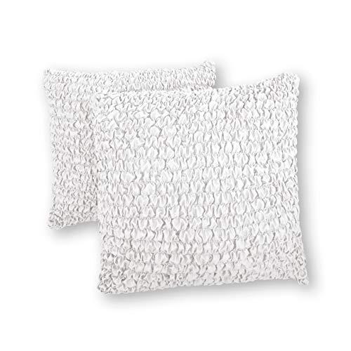 Funda de almohada de 18 x 18 fundas de almohadas, juego de 2 piezas, funda de tela de poliéster suave – 1 pieza protector elástico para muebles – Colección Microfibra – blanco (18 x 18)