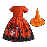 Disfraz de bruja de Halloween para niñas, disfraz de cosplay de rendimiento para niños, disfraz de mascarada con sombrero de bruja de 100 cm, naranja, 150 cm