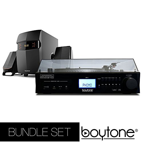 Boytone Bundle set Fully Automatic Bluetooth Turntable + 2.1 Multimedia Speaker, S-Shaped Tone Arm, Adjustable Counterweight & pitch control, AM/FM, Cassette, CD Player USB, SD (BT-11B + BT-3685F)