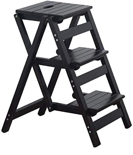 GDFEH Taburete plegable de madera con 3 escalones para escaleras, sillas de escalera, taburete plegable (color: marrón oscuro)