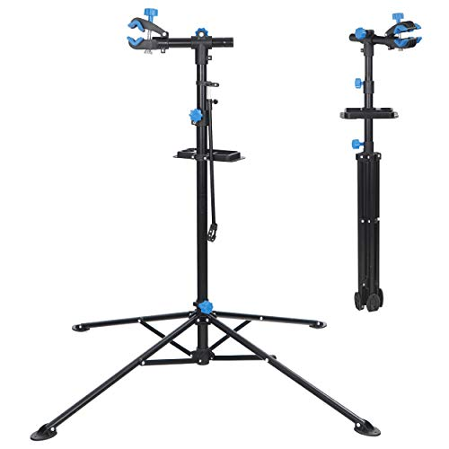 ZENY Bike Repair Stand Foldable Bicycle Repair Rack Workstand Bicycle Mechanic Maintenance Rack Height Adjustable Quick Release Telescopic Arm